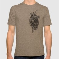 Robot Heart Mens Fitted Tee Tri-Coffee SMALL