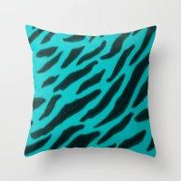 Aqua Zebra Print Throw Pillow