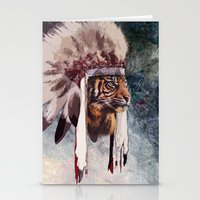 Tiger in war bonnet Stationery Cards