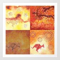 4 Kangaroos Art Print