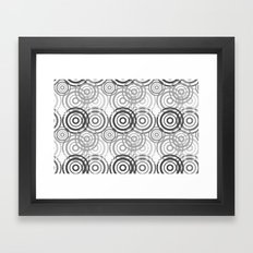 Grey Black Geometric Circles Framed Art Print