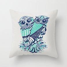 Owls - Turquoise & Navy Throw Pillow