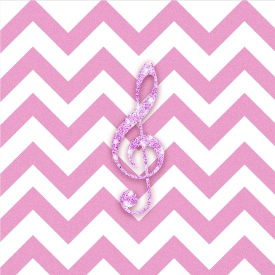 Glitter Musical Note pink chevron pattern Music Art Print