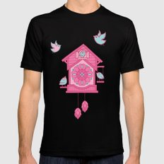 Cuckoo Time pink Mens Fitted Tee Black SMALL