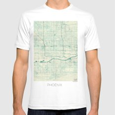 Phoenix Map Blue Vintage Mens Fitted Tee SMALL White