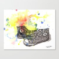 Converse Sneakers Painting Canvas Print