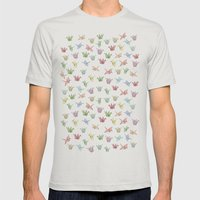 Origami Cranes Mens Fitted Tee Silver SMALL