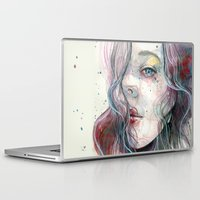 Laptop & iPad Skin featuring Sleepy violet, watercolor by Jane-Beata