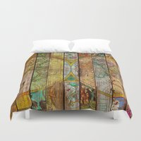Around the World in Thirteen Maps Duvet Cover