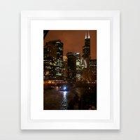 Nighttime Chicago Framed Art Print