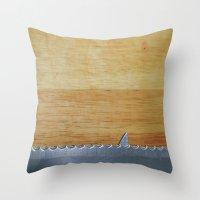 Shark infested breadboard Throw Pillow