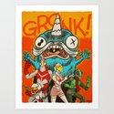the Cryptid Crew VS Uncle Corny Kaiju Art Print