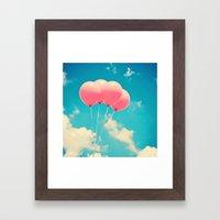 Pink Balloons on Deep Blue  Framed Art Print