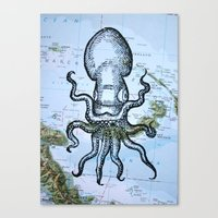 Octopus in the Solomon Sea Canvas Print