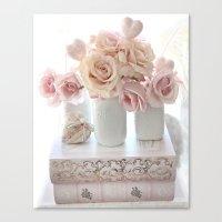 Peach And White Shabby C… Canvas Print