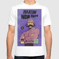 Phantom Moustache Mens Fitted Tee White SMALL