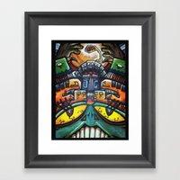 Aztec Colorfull Monsters Framed Art Print