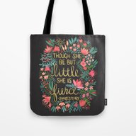 Tote Bag featuring Little & Fierce On Charc… by Cat Coquillette