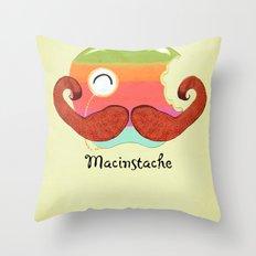 The Macinstache Throw Pillow
