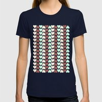 Creamy Hearts  Womens Fitted Tee Navy SMALL