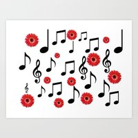 Musical Notes & Red Gerb… Art Print