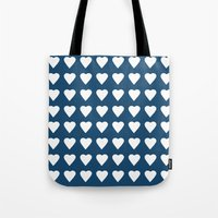 64 Hearts Navy Tote Bag