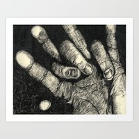 Etched Hand #1 Art Print