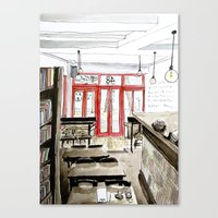 Canvas Print featuring The Booklovers Cafe by Chantal Vincent