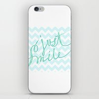 Just Smile - hand lettered calligraphy art print iPhone & iPod Skin