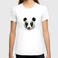 panda T-shirts featuring Kiss of a panda by Robert Farkas