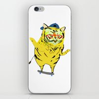Tiger Skater. Tiger art, tiger print, illustration, pattern, skateboarding, skater, skateboard print iPhone & iPod Skin
