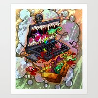 A Laptop Eating Multicolored Kittens Art Print