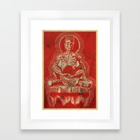 Zombuddha Red Linocut Framed Art Print