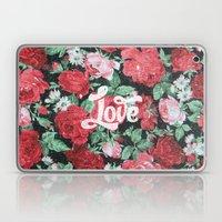 Red Pink Roses Chic Love Vintage Floral Pattern Laptop & iPad Skin