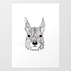Squirrel sketch Art Print