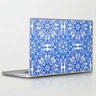 Cobalt Blue & China Whit… Laptop & iPad Skin