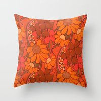 Vintage Floral Linen Fab… Throw Pillow
