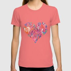 Doodle Heart Womens Fitted Tee Pomegranate SMALL