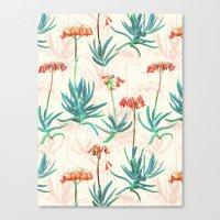 Flowering Succulent Patt… Canvas Print