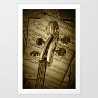 Scroll Of A Cello String… Art Print