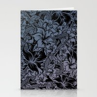 Snaky Fleur, Blue Fade Stationery Cards