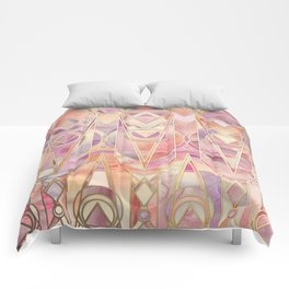 Comforter - Glowing Coral and Amethyst Art Deco Pattern - micklyn