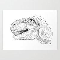 T-rex Dinosaur B&W Art Print