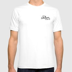 Keep Calm & Carry On White SMALL Mens Fitted Tee