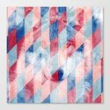 Red Blue Abstract Geometric Pattern Gray Wolf Head Canvas Print