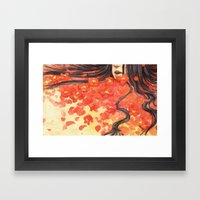 Beneath the Red Flowers Framed Art Print
