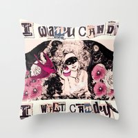 I want Candy! (Marie Antoinette) Throw Pillow