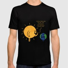 You Are Not The Center Of The Universe, Young Man ! SMALL Black Mens Fitted Tee