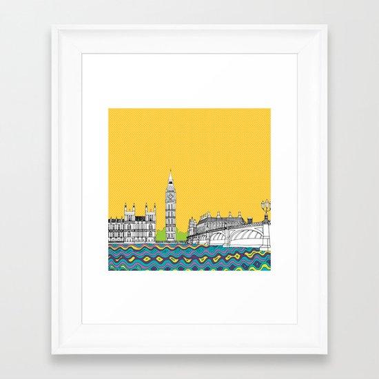 London Town Pop Art with spotty sky Framed Art Print