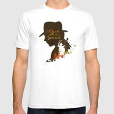 Don't call me Junior! – Indiana Jones Silhouette Quote Mens Fitted Tee SMALL White